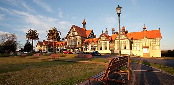 Rotorua Museum at dusk