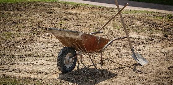 Shovel and wheelbarrow