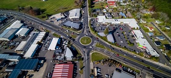 Tarawera roundabout birds eye view