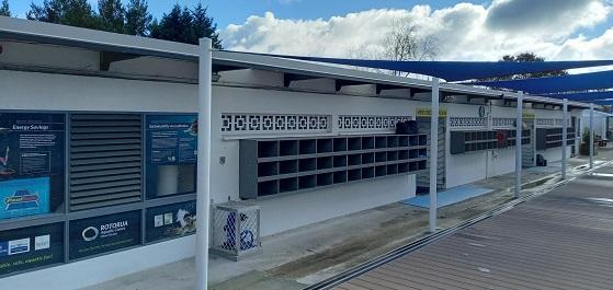 Rotorua Aquatic Centre outdoor changing rooms