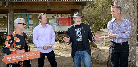 Mayor Steve Chadwick and Deputy Mayor Dave Donaldson with Bikewise, NZTA reps