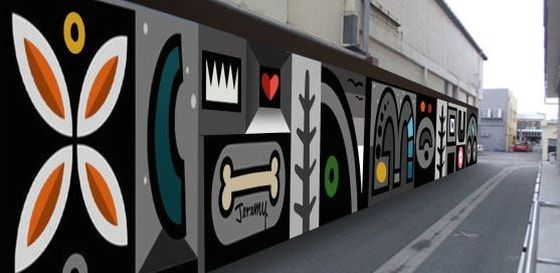 Jeremy Shirley's first mural on Hinemoa Street