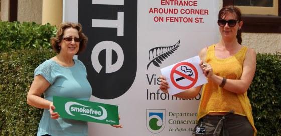 Smokefree signage at iSite Rotorua